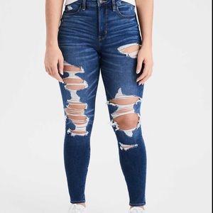 AEO Dream Hi-Rise Jegging Distressed Raw Hem Jeans